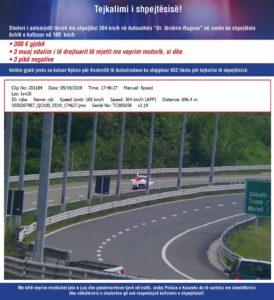 Tejkalimi i shpejtësisë- Policia e Kosovës paralajmëron qytetarët
